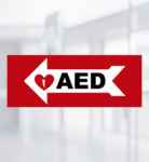 AED Wall Sign Arrow Left Priority First Aid