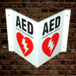defibrillator aed 3 way wall sign